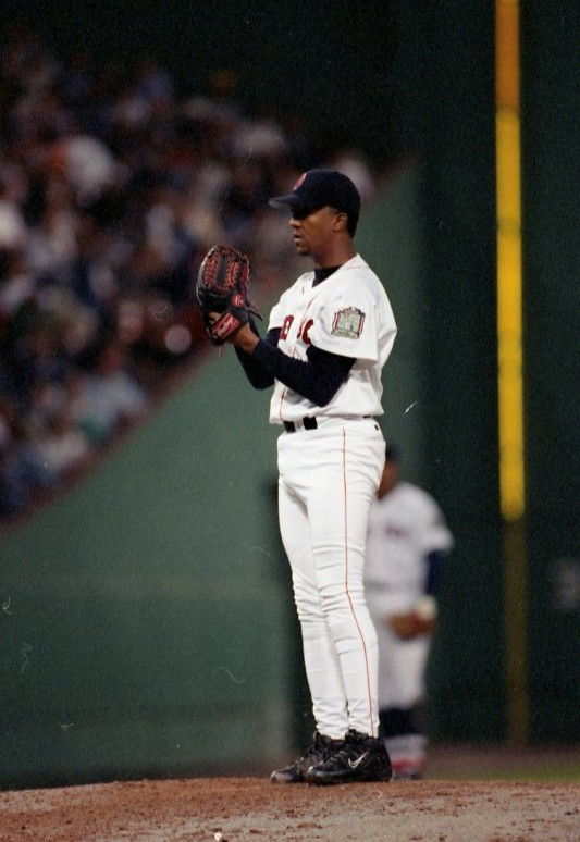 Pedro Martinez reaches the 300th strike outs in Fenway Park.